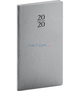 Vreckový diár Capys 2020, strieborný, 9 x 15,5 cm