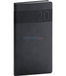 Vreckový diár Aprint 2020, čierny, 9 x 15,5 cm