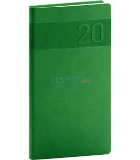 Vreckový diár Aprint 2020, zelený, 9 x 15,5 cm