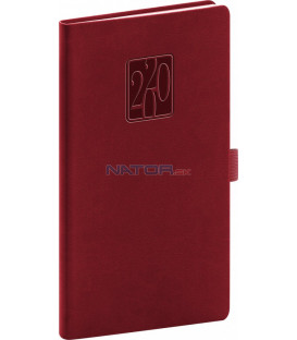 Vreckový diár Vivella Classic 2020, vínový, 9 x 15,5 cm