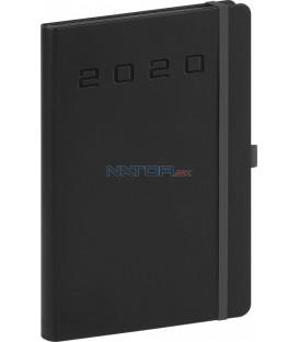 Denný diár Nox 2020, čierny-čierny 15 x 21 cm