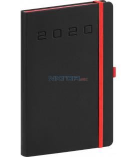 Týždenný diár Nox 2020, čierny-červený 15 x 21 cm