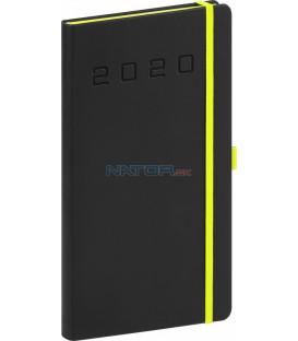 Vreckový diár Nox 2020, čierny-zelený 9 x 15,5 cm