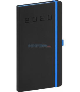 Vreckový diár Nox 2020, čierny-modrý 9 x 15,5 cm