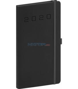 Vreckový diár Nox 2020, čierny-čierny 9 x 15,5 cm