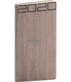 Vreckový diár Forest 2020, hnedý, 9 x 15,5 cm