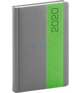 Denný diár Davos 2020, sivo-zelený, 15 x 21 cm