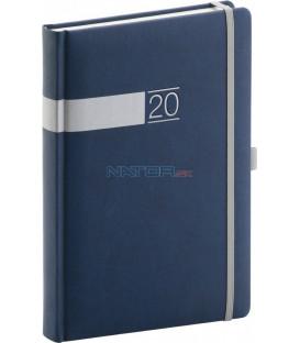 Denný diár Twill 2020, modro-strieborný 15 x 21 cm