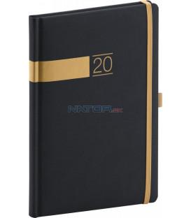 Týždenný diár Twill 2020, čierno-zlatý 15 x 21 cm