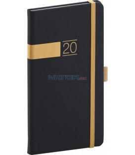 Vreckový diár Twill 2020, čierno-zlatý 9 x 15,5 cm