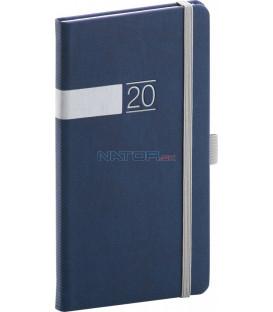 Vreckový diár Twill 2020, modro-strieborný 9 x 15,5 cm