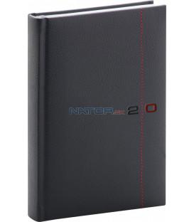 Denný diár Tailor 2020, čierno-červený, 15 x 21 cm
