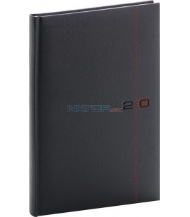 Týždenný diár Tailor 2020, čierno-červený, 15 x 21 cm