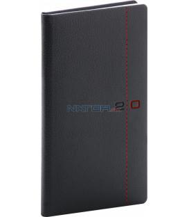 Vreckový diár Tailor 2020, čierno-červený, 9 x 15,5 cm