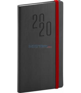 Vreckový diár Soft 2020, čierny, 9 x 15,5 cm