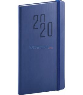 Vreckový diár Soft 2020, modrý, 9 x 15,5 cm