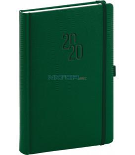 Denný diár Diamante 2020, zelený, 15 x 21 cm