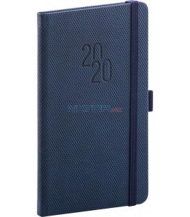 Vreckový diár Diamante 2020, modrý, 9 x 15,5 cm