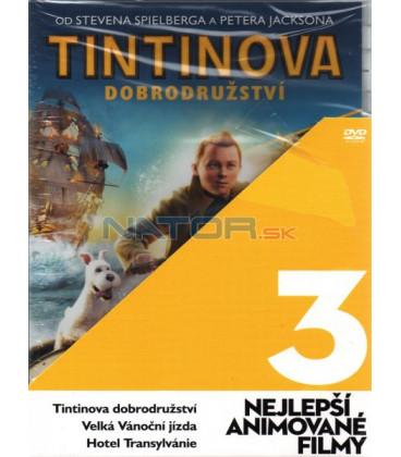 3x Nejlepší animované filmy: Velká Vánoční jízda, Tintinova dobrodružství, Hotel Transylvánie 3DVD