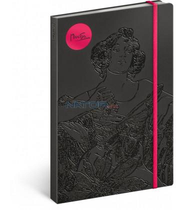 Notes Alfons Mucha – Rubín, linajkovaný, 13 x 21 cm