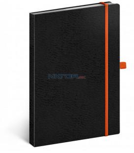 Notes Vivella Classic čierny/oranžový, bodkovaný, 15 x 21 cm