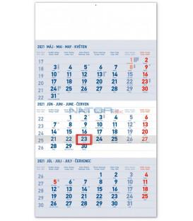 Nástenný kalendár 3mesačný štandard modrý – so slovenskými menami SK 2021, 29,5 × 43 cm