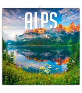 Poznámkový kalendár Alpy 2021, 30 × 30 cm