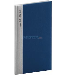 Vreckový diár Dakar 2021, strieborno-modrý, 9 × 15,5 cm