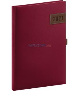 Týždenný diár Tarbes 2021, červený, 15 × 21 cm