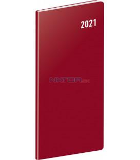 Vreckový diár Vínový SK 2021, plánovací mesačný, 8 × 18 cm
