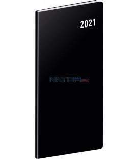 Vreckový diár Čierny SK 2021, plánovací mesačný, 8 × 18 cm