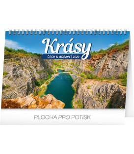 Stolní kalendář Krásy Čech a Moravy CZ 2020, 23,1 x 14,5 cm