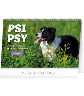 Stolový kalendár Psi – Psy CZ/SK 2020, 23,1 x 14,5 cm