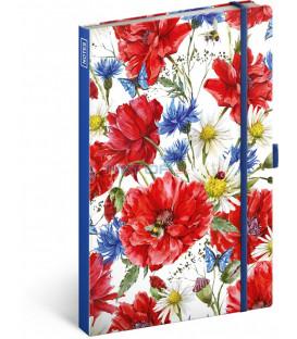 Notes Kvety, linajkovaný, 13 x 21 cm