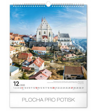 Nástenný kalendár Česká republika 2020, 30 x 34 cm