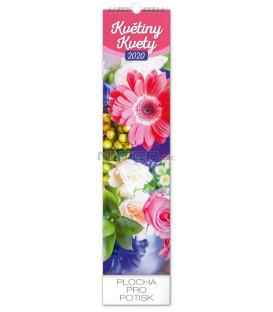 Nástenný kalendár Květiny – Kvety CZ/SK 2020, 12 x 48 cm