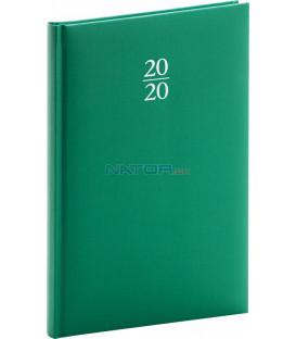 Týždenný diár Capys 2020, zelený, 15 x 21 cm