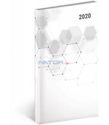 Vreckový diár Cambio Classic 2020, biely, 9 x 15,5 cm