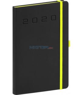 Týždenný diár Nox 2020, čierny-zelený 15 x 21 cm