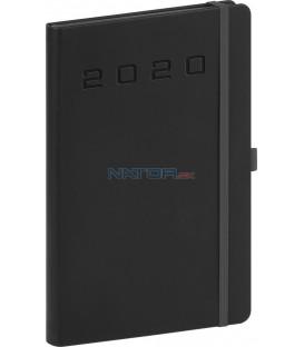 Týždenný diár Nox 2020, čierny-čierny 15 x 21 cm