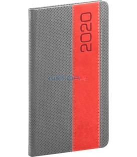 Vreckový diár Davos 2020, sivo-červený, 9 x 15,5 cm