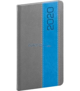 Vreckový diár Davos 2020, sivo-modrý, 9 x 15,5 cm