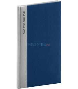 Vreckový diár Dakar 2020, strieborno-modrý 9 x 15,5 cm