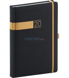 Denný diár Twill 2020, čierno-zlatý 15 x 21 cm