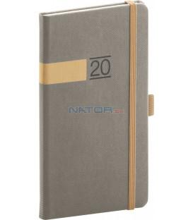 Vreckový diár Twill 2020, sivo-zlatý 9 x 15,5 cm