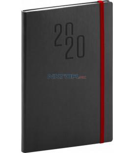 Týždenný diár Soft 2020, čierny, 15 x 21 cm