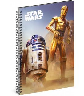 Špirálový blok Star Wars – Droid, linajkovaný, A5