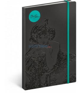 Notes Alfons Mucha – Smaragd, linajkovaný, 13 x 21 cm