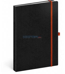 Notes Vivella Classic čierny/oranžový, linajkovaný, 15 x 21 cm