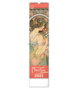 Nástenný kalendár Alfons Mucha CZ/SK 2021, 12 × 48 cm